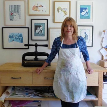 jane Duke in her printmaking studio