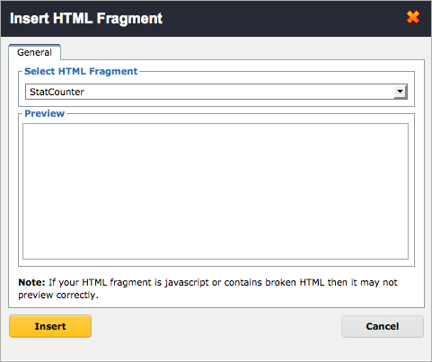 Adding your HTML fragment to your footer