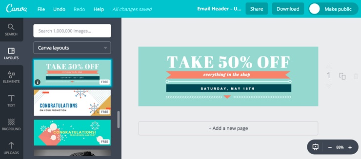 Screenshot of making an e-mail header on Canva.com