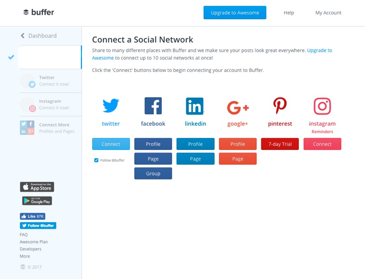 Screenshot of social media connection options on Buffer.com