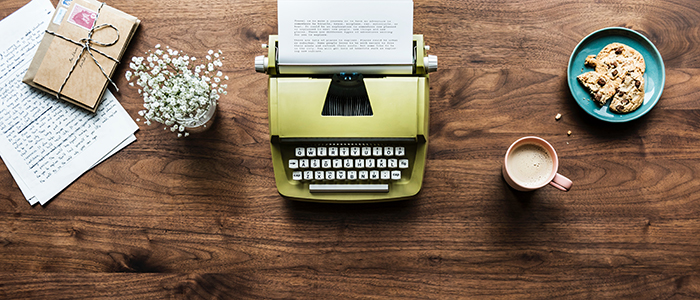 Typewriter and other items on a desk