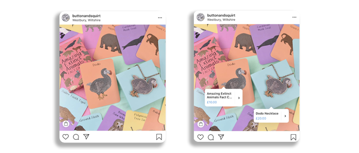 Button & Squirt Shopping Tags on Instagram