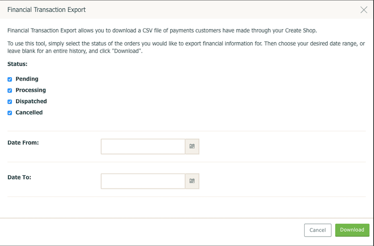 Financial Transaction Export screenshot
