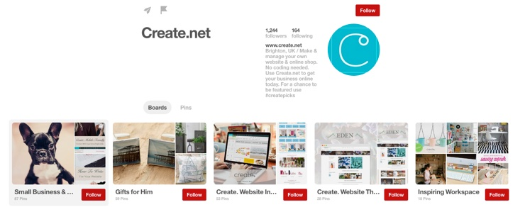 Screenshot of Create.net on Pinterest