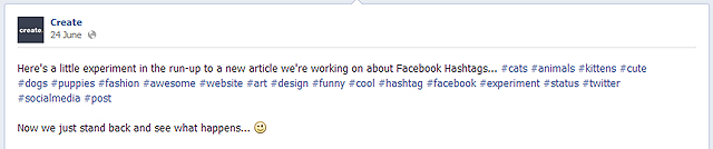 Facebook Hashtag experiment