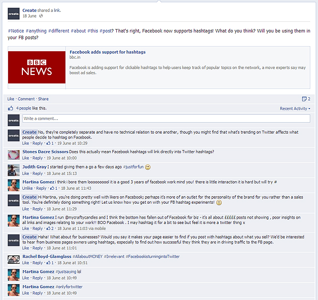 Facebook Hashtag Discussion Screenshot