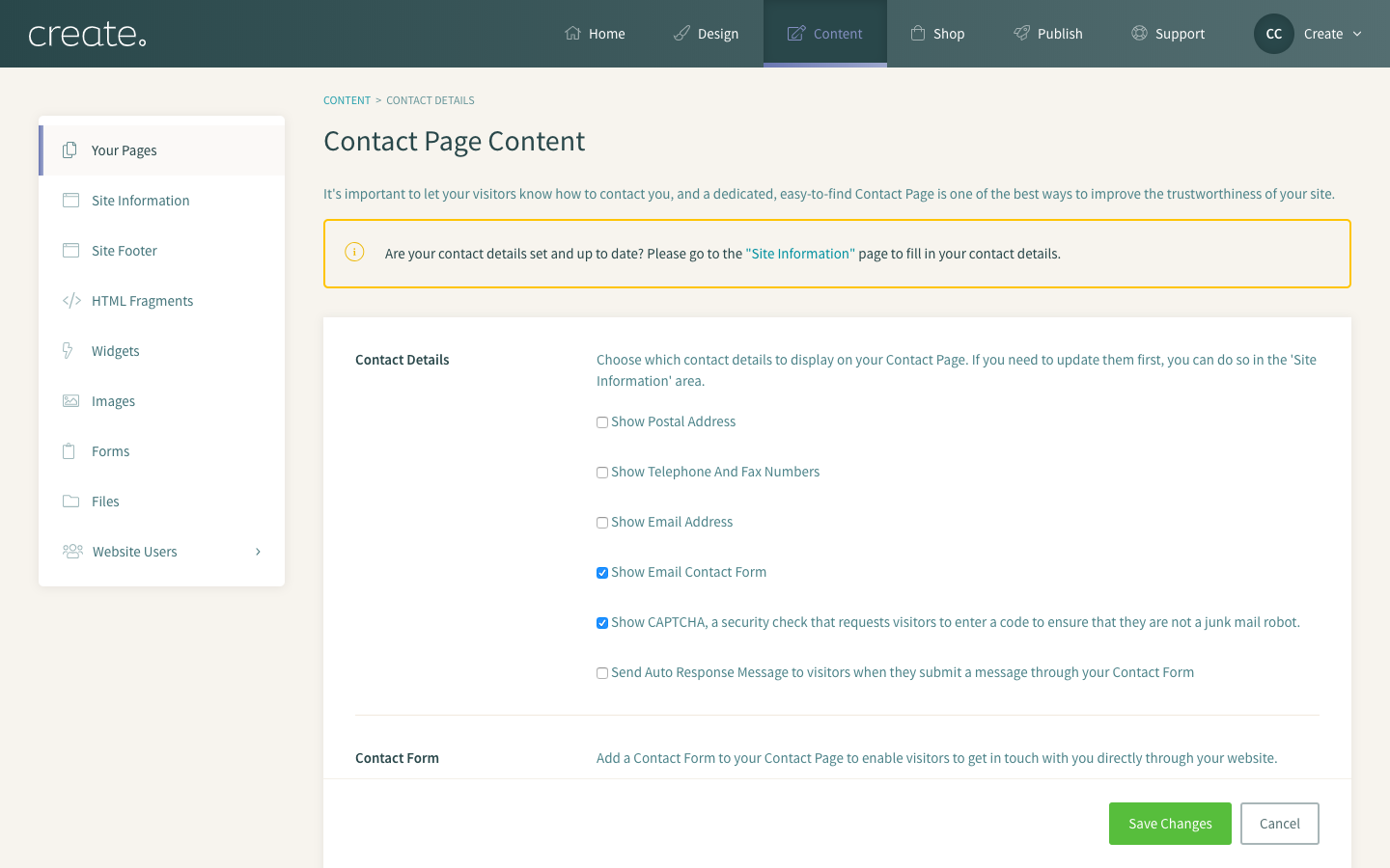 How to set up a 'Contact' Page | Create net