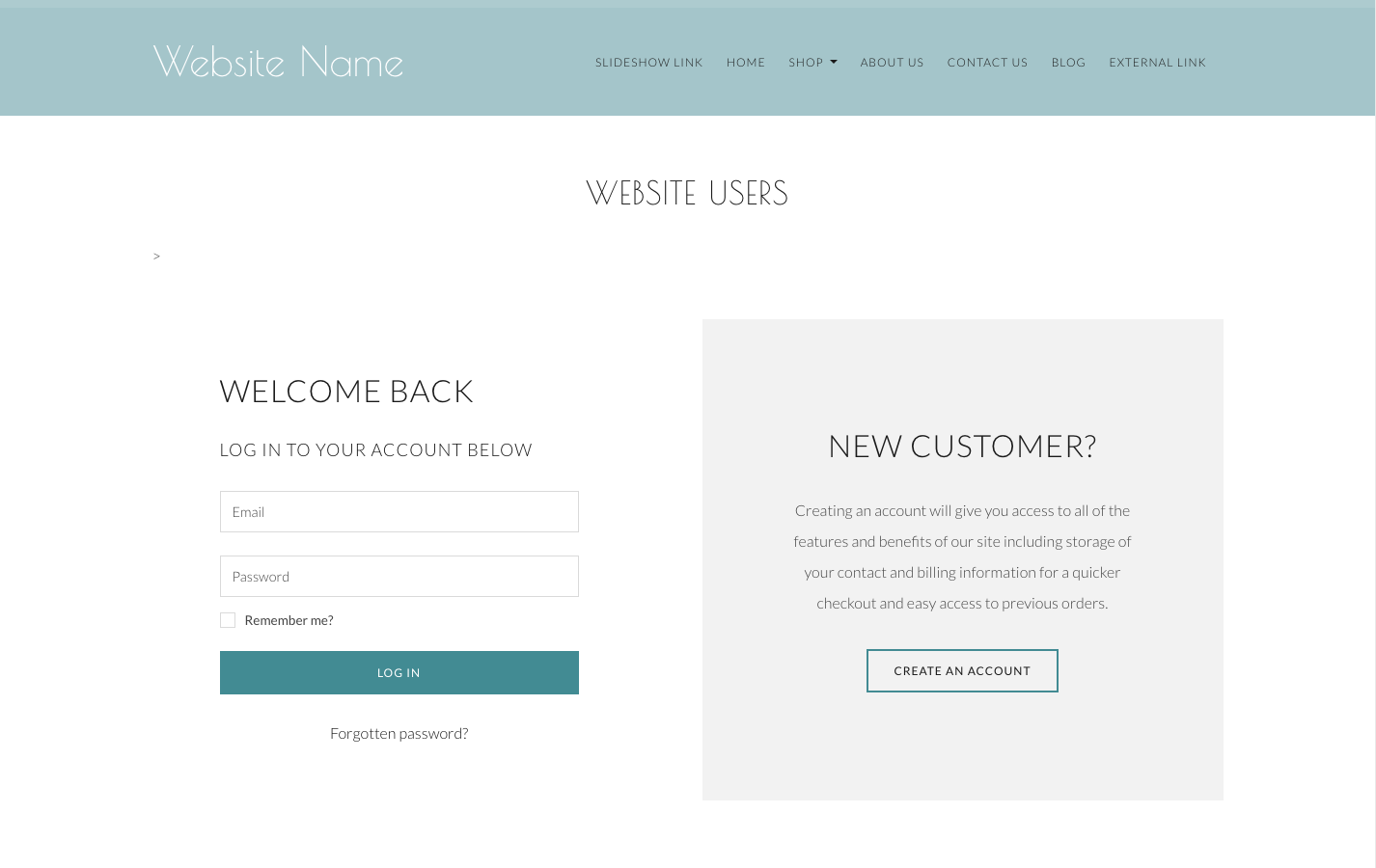 An Example of a Customer Account Login Screen on a Create Website