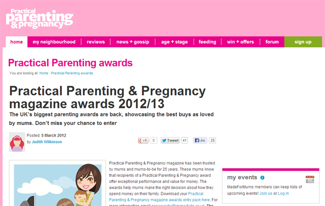Practical Parenting & Pregnancy Awards screenshot