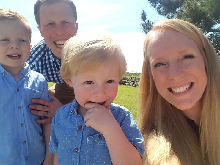 Simon Harrison with his wife and two young children