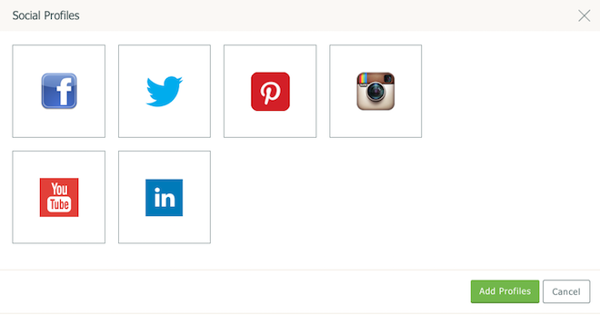 Social Choices available on Create Website Builder