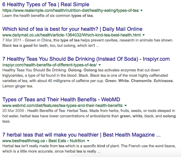 tea search engine results to demonstrate meta data appearance