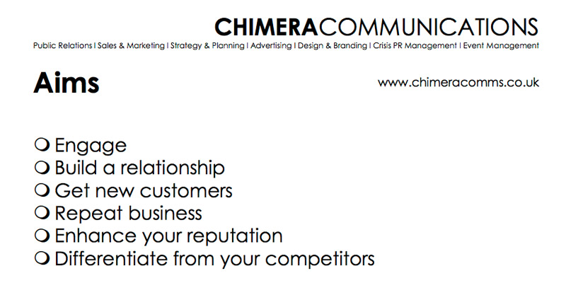 Jill Woolf of Chimera Communications slide on business aims