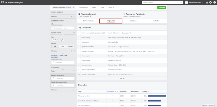 The Page Likes Tab in Facebook Audience Insights