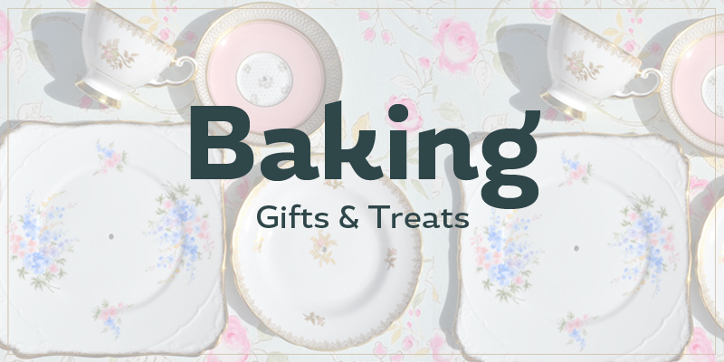 Tea pot background with the text Baking Gifts & Treats