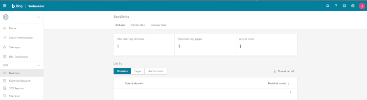 The Backlinks section of Bing Webmaster Tools