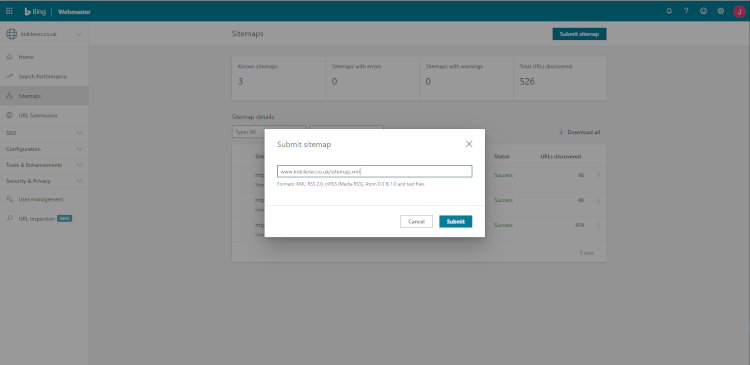 Enter your sitemap in Bing Webmaster Tools