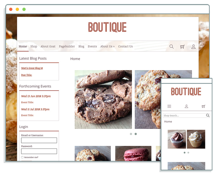 New responsive template called Boutique at Create
