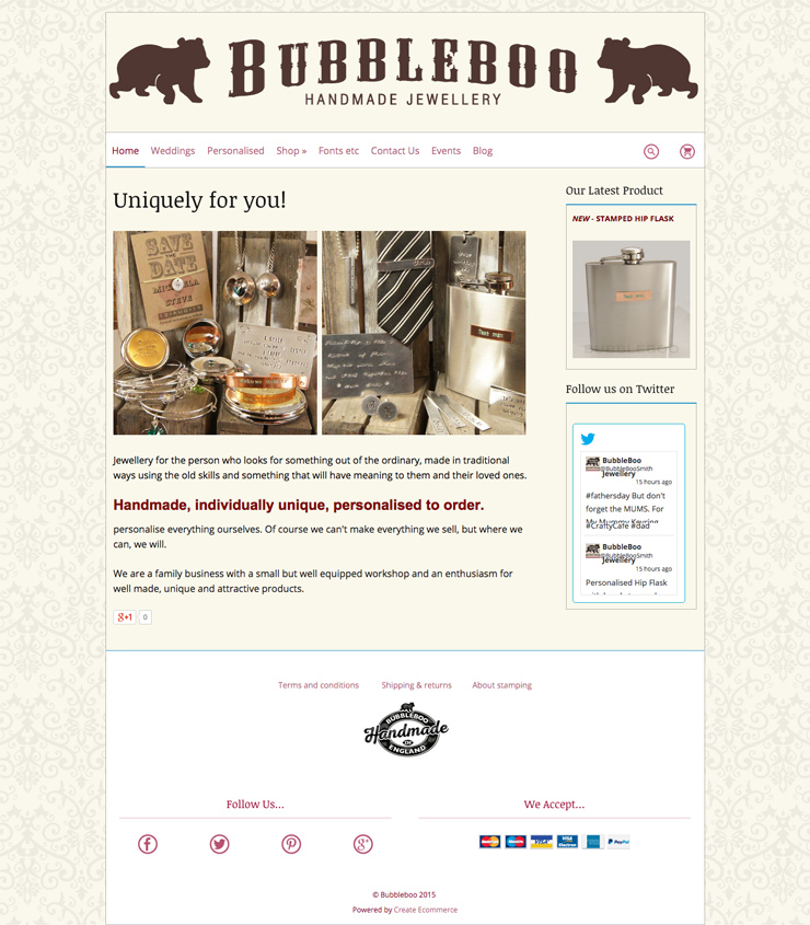 Bubble Boo's website using the Boutique template from Create