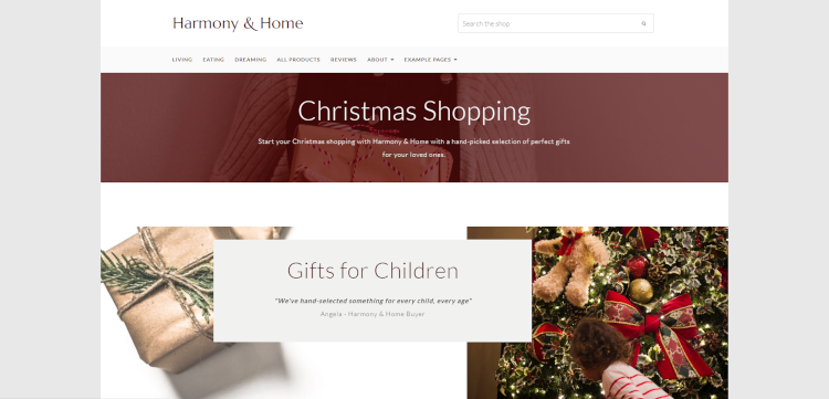 Landing page promoting Christmas Gifts