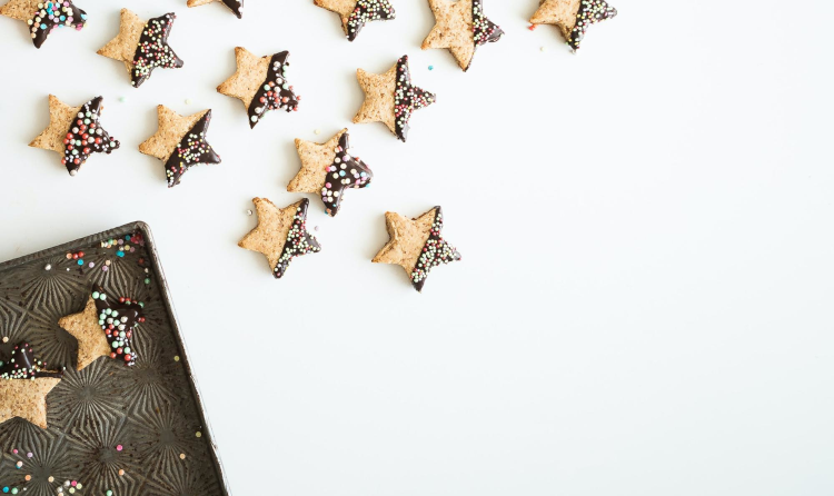 Batch of Christmas star shaped biscuits