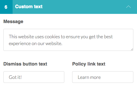 Cookie Consent Custom Text