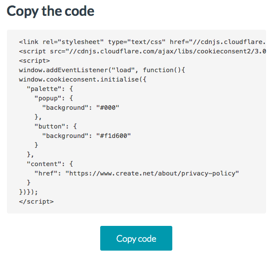 Cookie Consent Copy Code