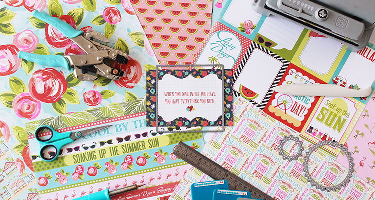 Colourful Floral prints and crafting materials