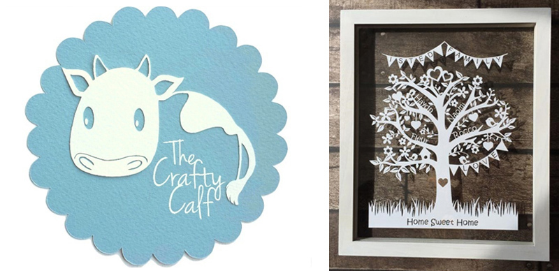 The Craft Calf logo and papercut product form the website