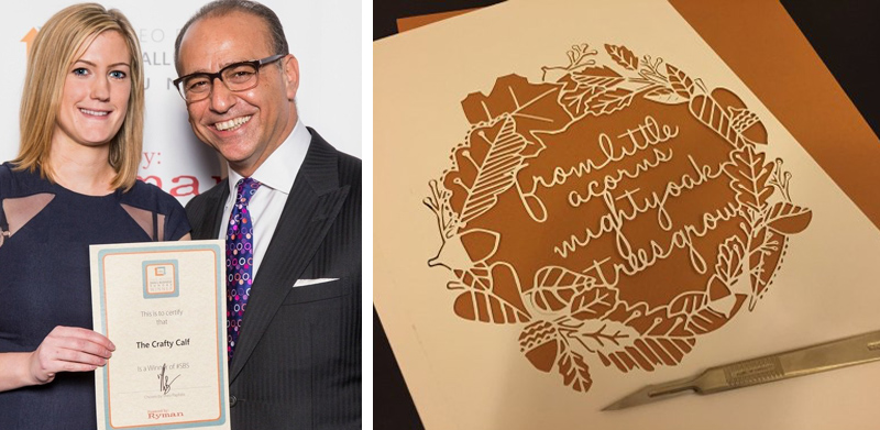 Photograph of Sharron and Theo Paphitis and cut out print from crafty calf