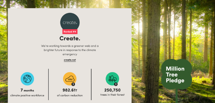 Create's Climate Dashboard from Ecologi