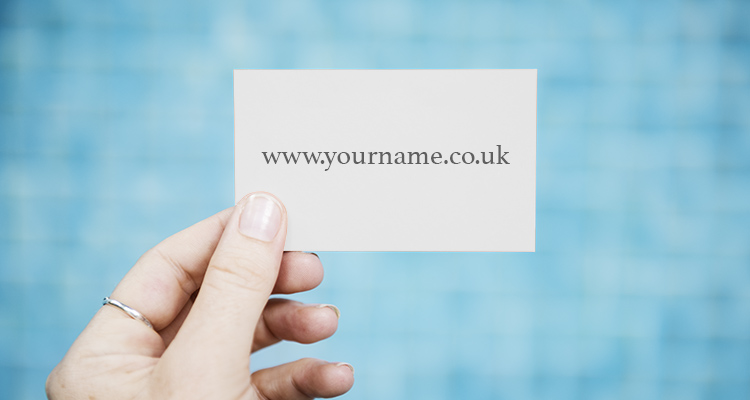 Card featuring an example domain name