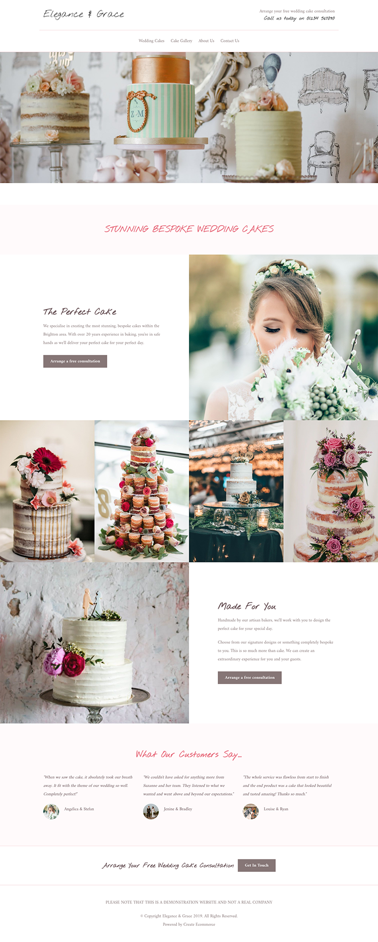 Elegance & Grace Cake Website Example