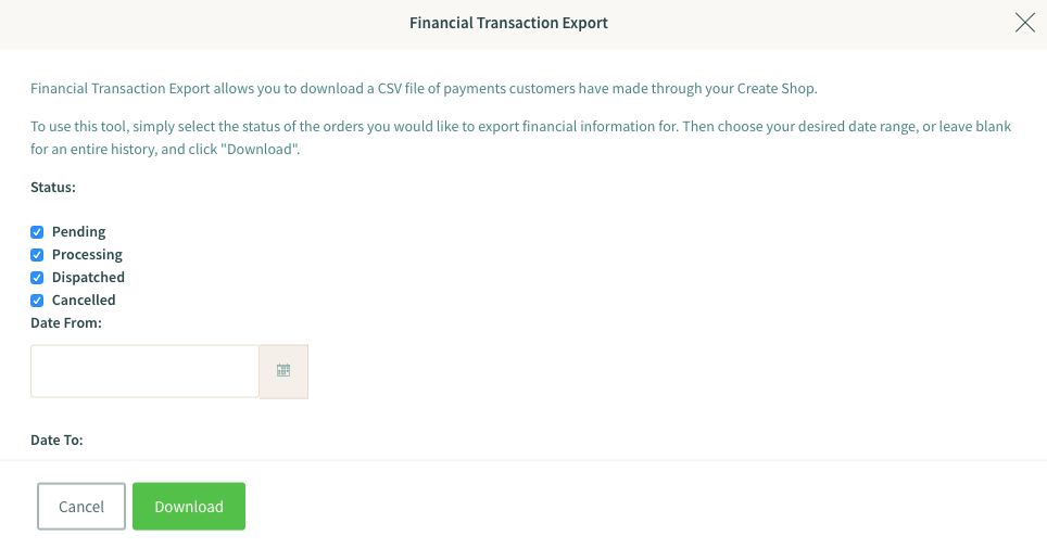 How to use the Financial Transaction Export tool | Create net