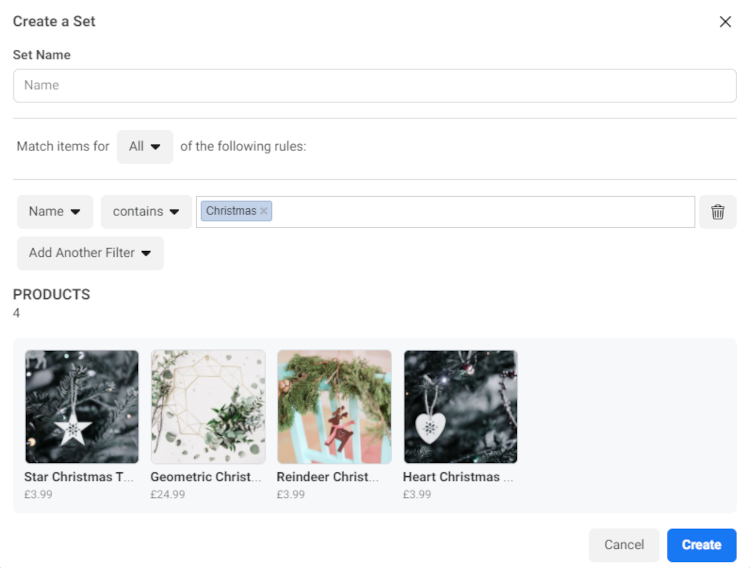 Building a Facebook Set using filters