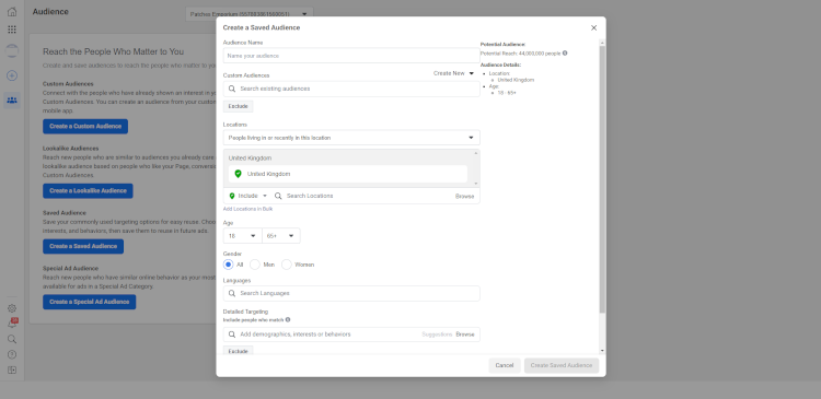 The Saved Audience window in Facebook Business Manager