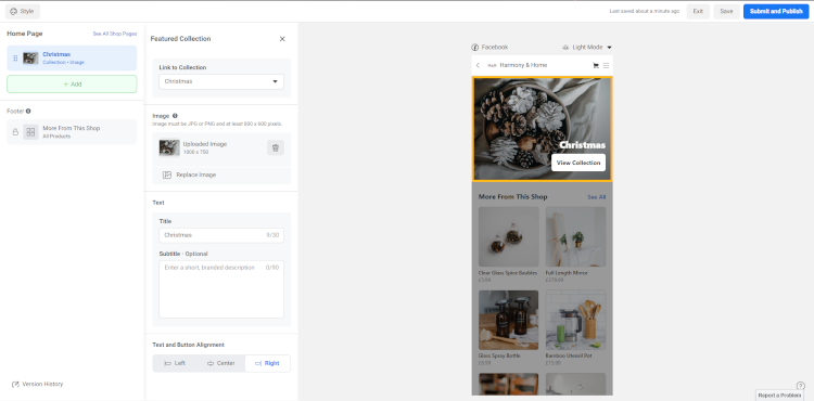 Configuring your Facebook Shop Collections