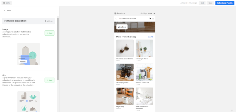 Selecting your Collection Layout in Facebook Shop Editor