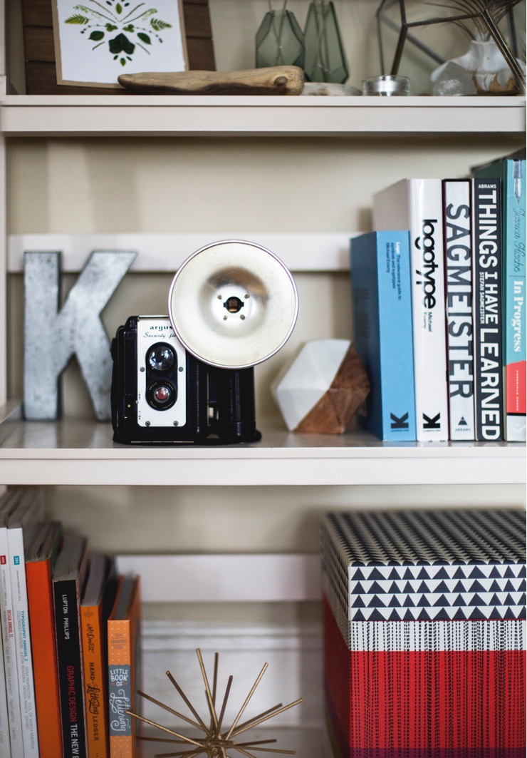 Books, camera and artwork arranged on wooden bookshelves