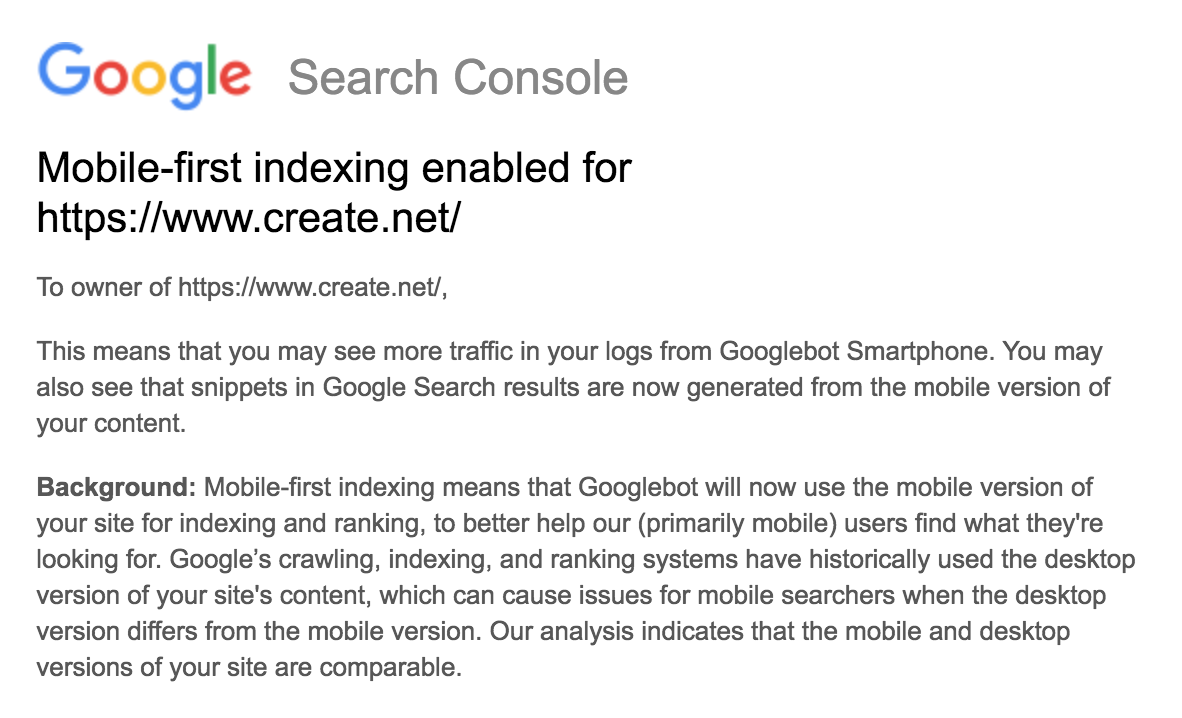Example of Google Mobile First indexing Email