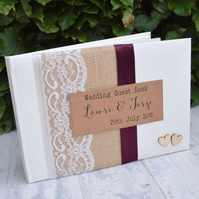 Hessian Lace Guest Book from thepaperbirdcompany.co.uk