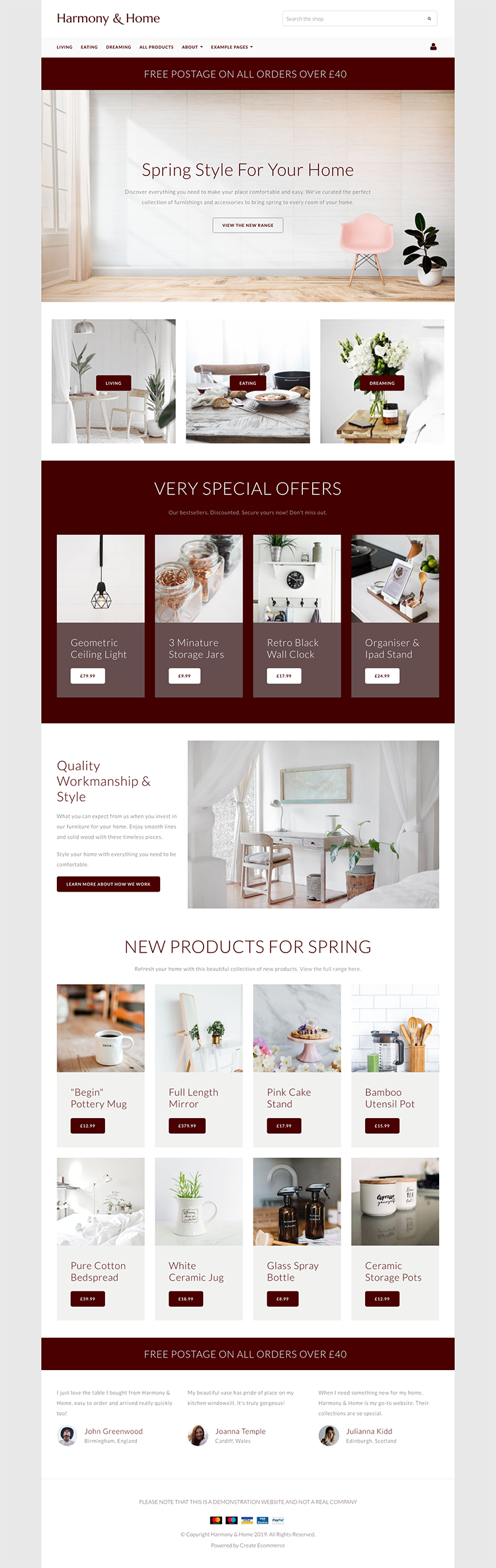 Harmony & Home Spring Home Page Example