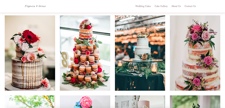 Gallery Page Cake Website Example