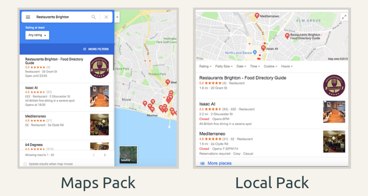 Examples of map and local packs in Google