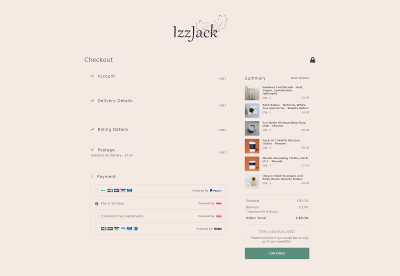 Klarna is available at the checkout on IzzJack