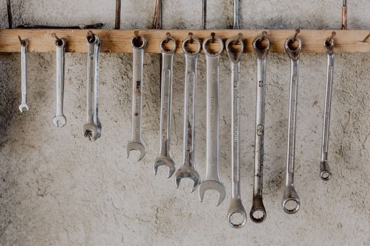 Spanners hanging on a wall