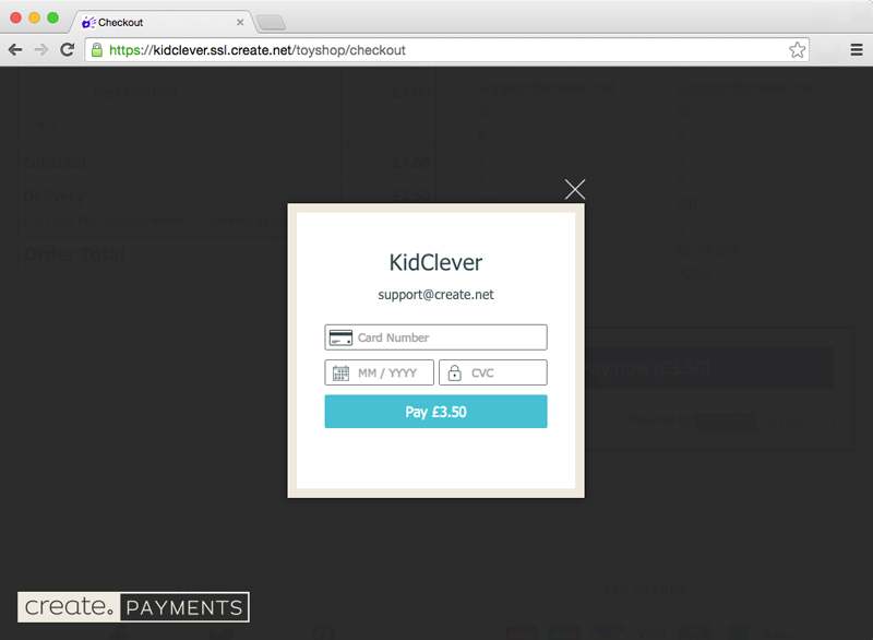 Create Payments showing kidclever.co.uk using shared SSL