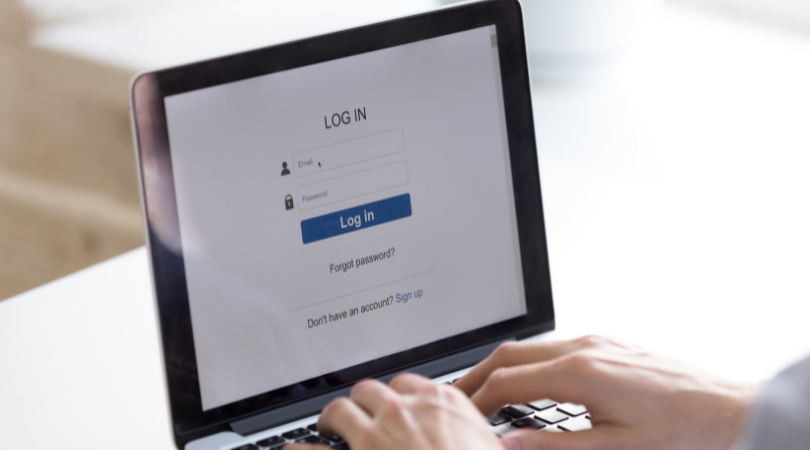 A person about to enter their login details