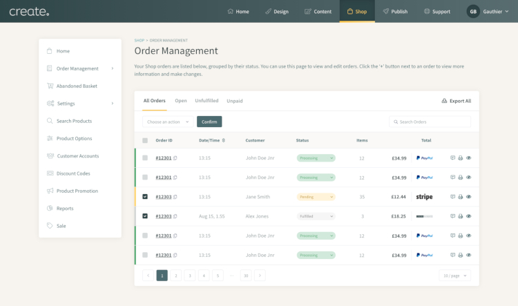 Order Management Interface