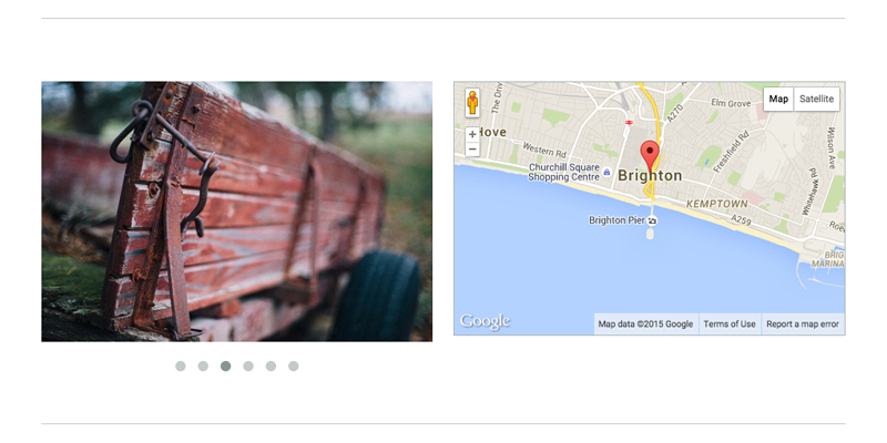 Screen shot of a pagebuilder page using the divider tool. Image of bench and map of brighton